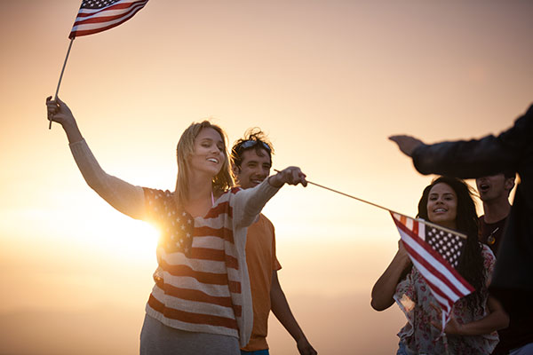 Teens Celebrating the 4th of July