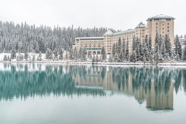 Lake Louise in Banff National Park, Canada during wintertime; Courtesy of Inger Eriksen/Shutterstock.com
