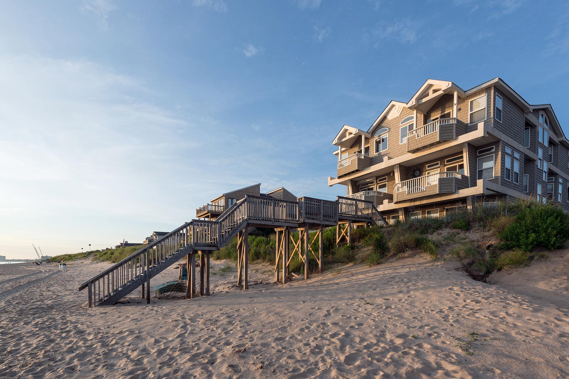 A vacation rental house located right on the beach.