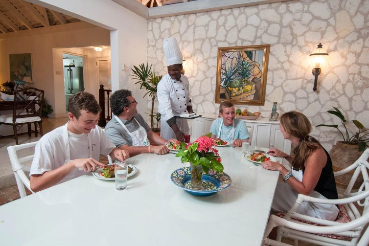 Family Enjoying Meal at Round Hill Hotel & Villas in Jamaica