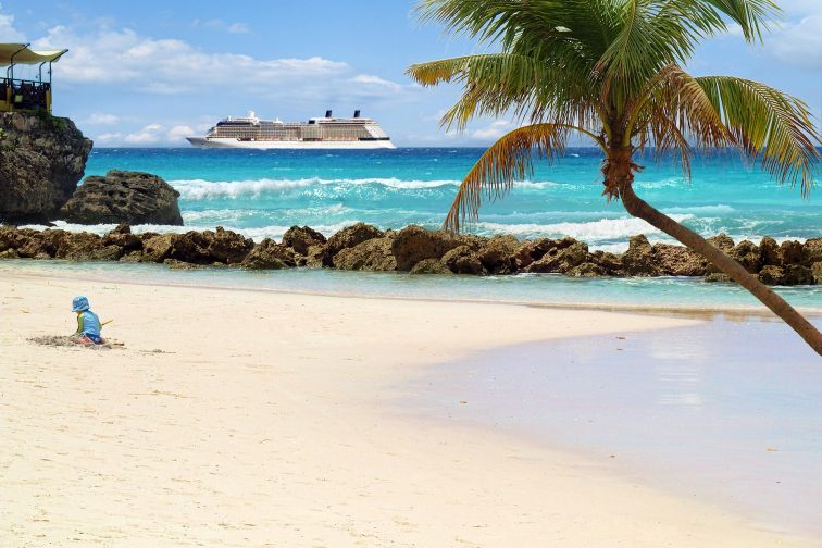 Tropical Beach With Cruise Ship in Distance