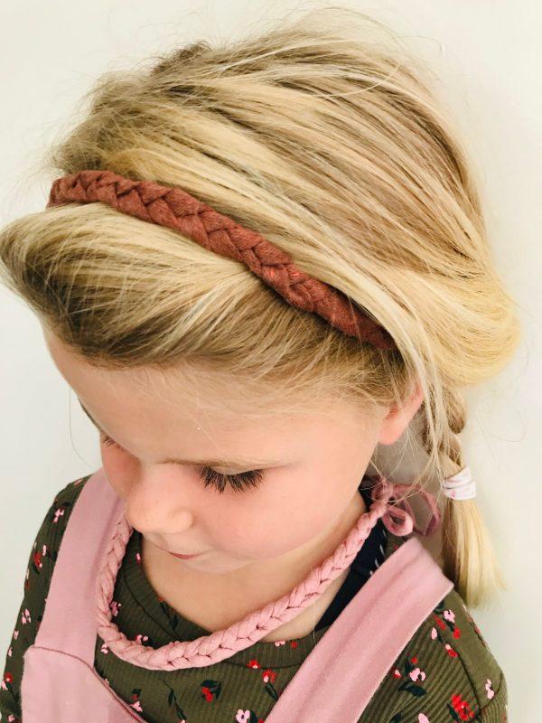 Gevlochten haarbandje roestbruin