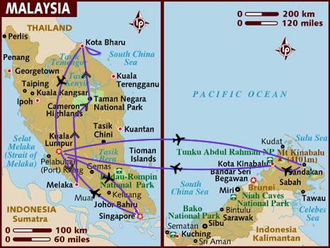 itinerario di viaggio in Malesia