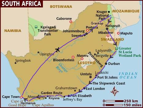 itinerario di viaggio in Sudafrica