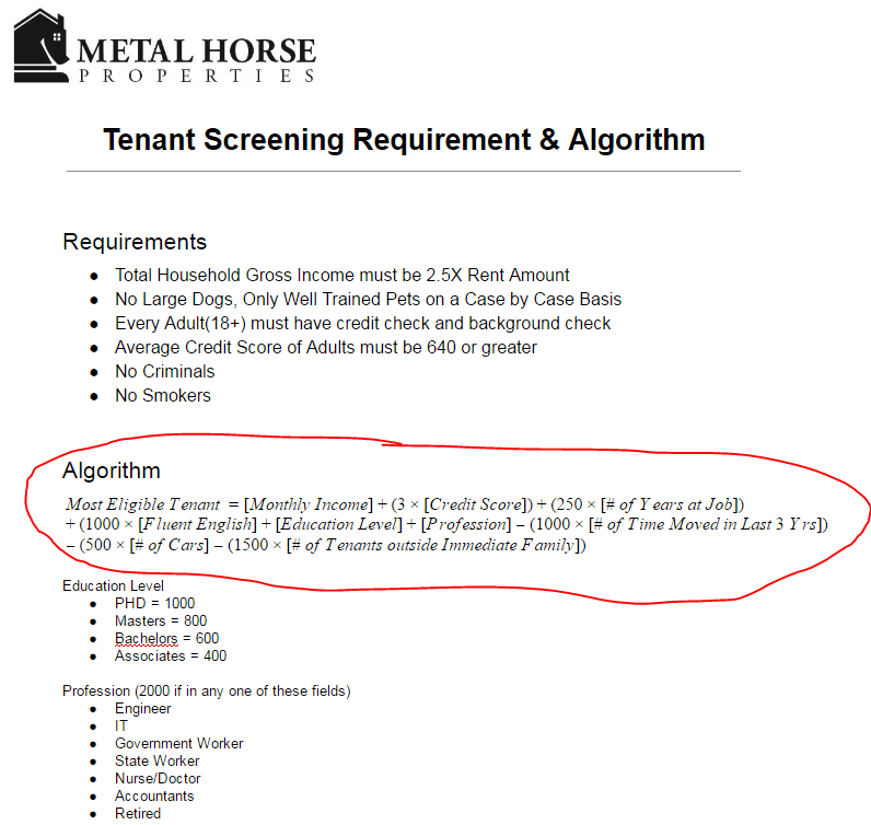 Tenant Screening Requirements and Algorithm
