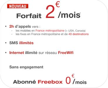 Free Mobile, détail du forfait sans engagement à 2 Euros , promos , bons plans