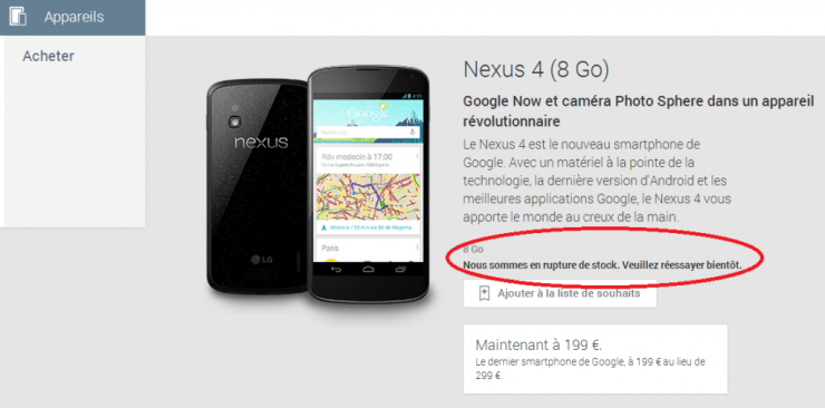 Nexus 4 rupture stock