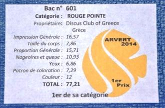 système de notation des discus ARVERT 2014
