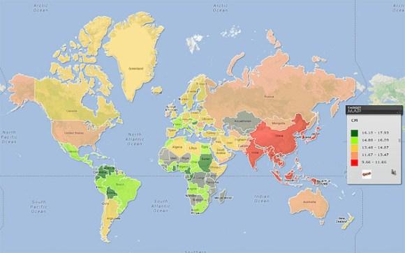 average penis size map