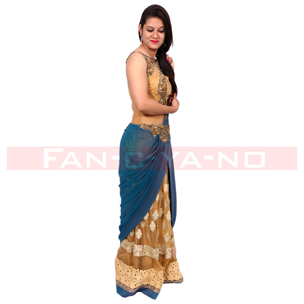 Designer Saree Gown (Blue and Gold) - FAN-C-YA-NO
