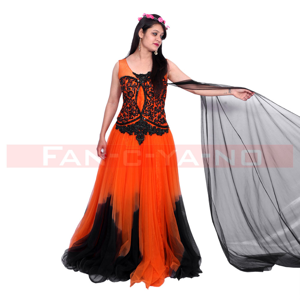 Black and Orange Evening Gown - FAN-C-YA-NO