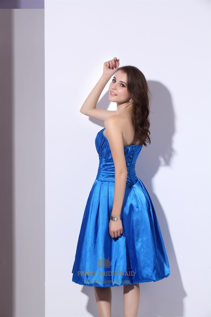 Blue Strapless Satin Knee Length Bridesmaid Dresses With