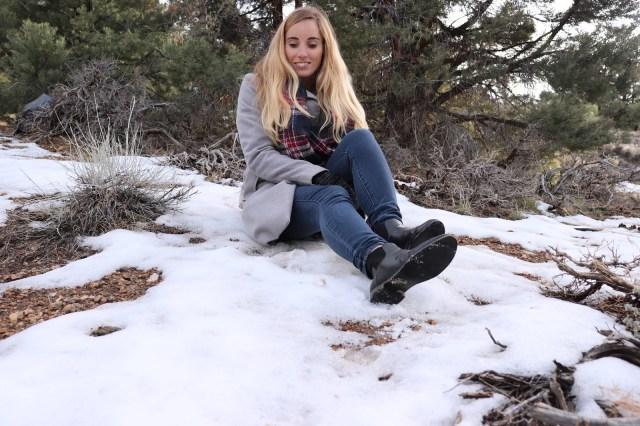 sitting in snow