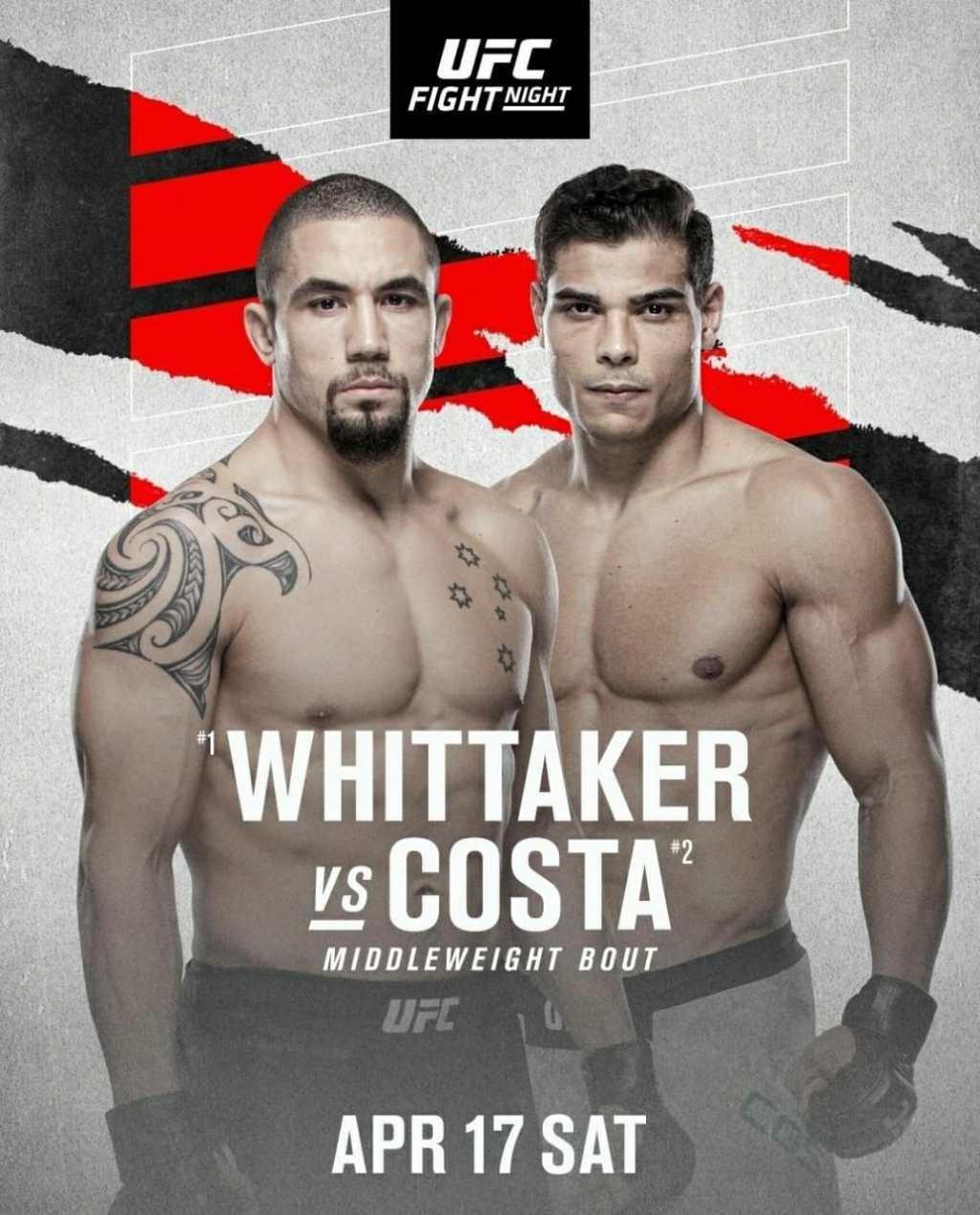 UFC Fight Night Schedule 2021 | Ultimate Fighting Championship Whittaker vs Costa