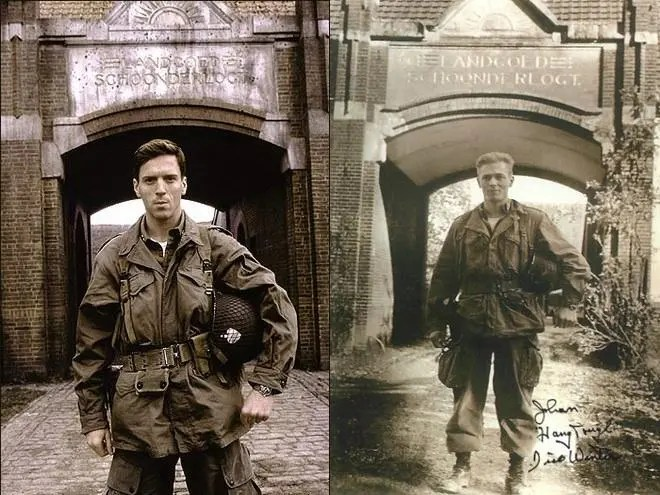 Caption: Damian Lewis standing where Dick Winters had once stood.