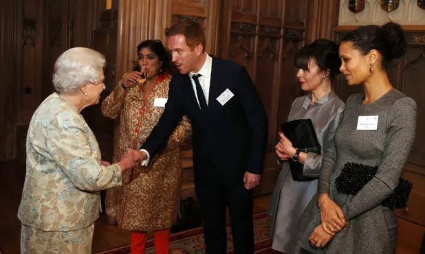 Are they talking about the races :) Damian Lewis meeting the Queen at Windsor Castle, source: digitalspy.co.uk