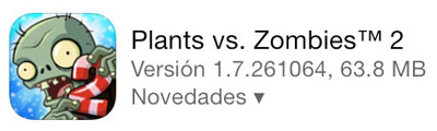 actualización plants vs zombies 2