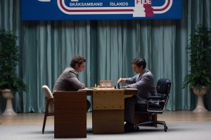 Liev Schreiber (left) stars as Boris Spassky and Tobey Maguire (right) stars as Bobby Fischer in Pawn Sacrifice
