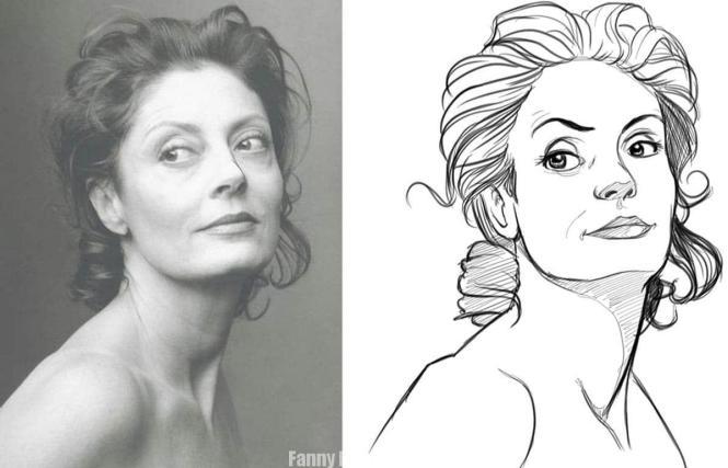 Nettoyage des traits du croquis pour le portrait à main levée de Susan Sarandon