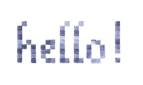 Hello, Lettres brodées motif point de croix