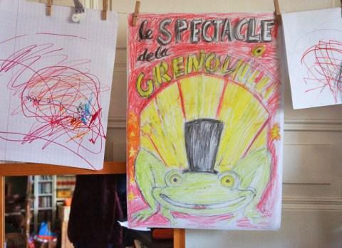 croquis affiche spectacle grenouille peinture en lettres