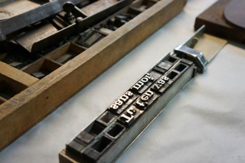 Composition typographique plomb
