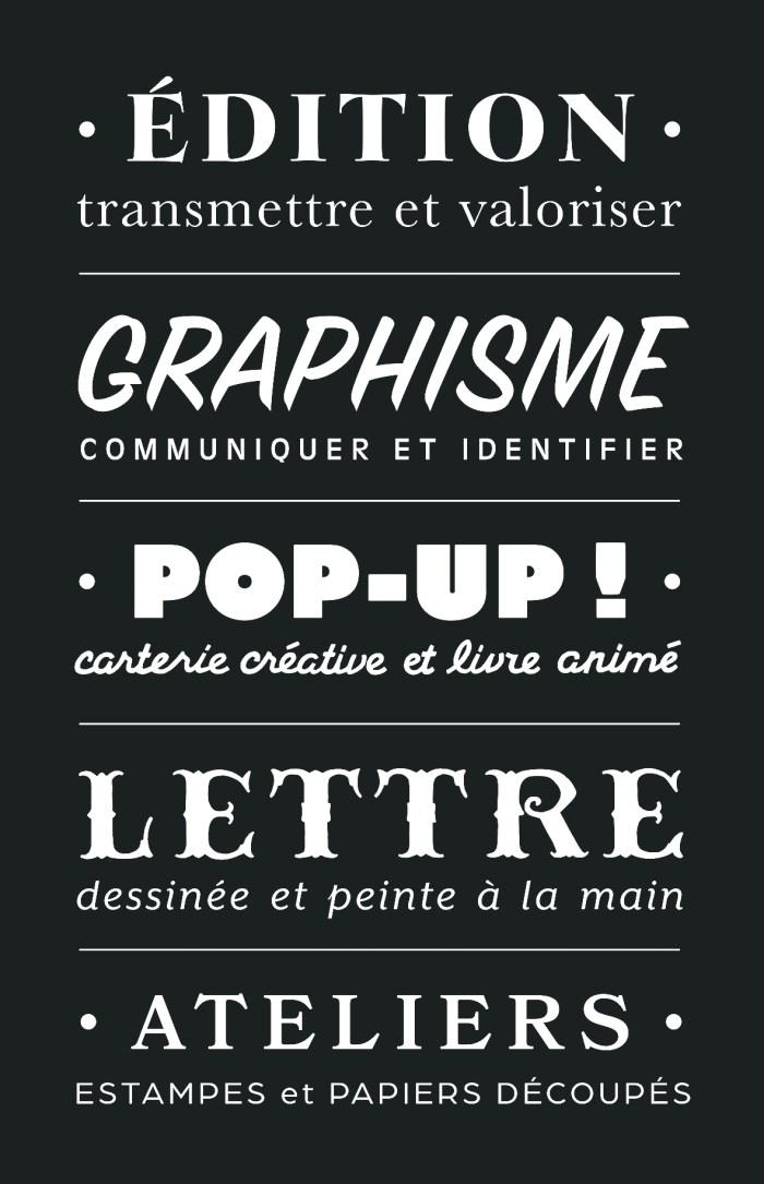 Fanny Walz Édition Graphisme Pop Up Lettre peinte Ateliers