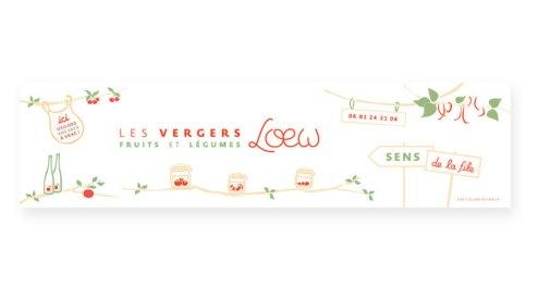 Peinture de lettres Bâche Les vergers Loew