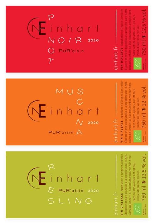 Étiquettes de vin nature du domaine Einhart