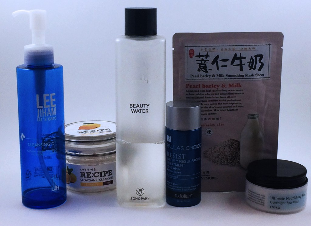 oil cleanser -> water-soluble cleanser -> pH-lowering toner -> PC 10% AHA -> sheet mask -> sleeping pack