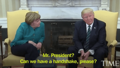 Trump Refuses to shake hands With German Chancellor, Angela Merkel