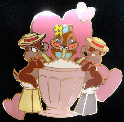 Chip N Dale With Clarice Sharing A Milk Shake Valentines