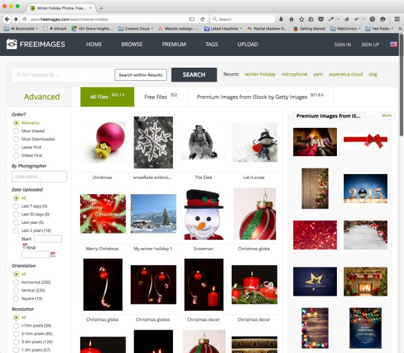 Image choices at Freeimages.com - front for Getty's Istock Service