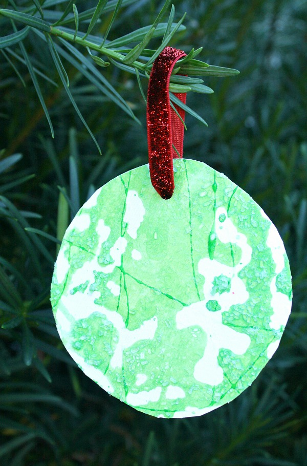 Salt Painted Kid Made Christmas Ornament Fantastic Fun
