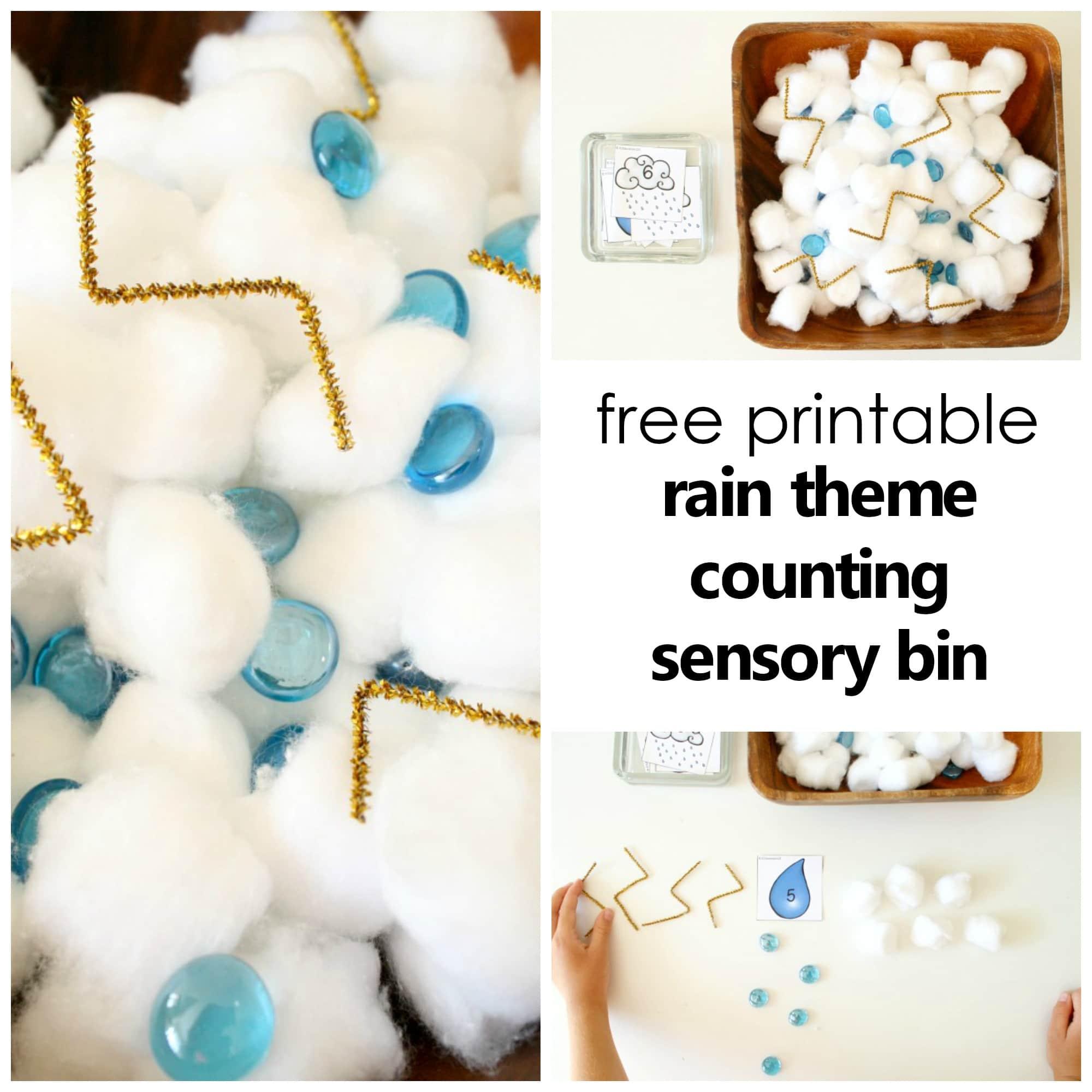 Preschool Counting Rain Sensory Bin