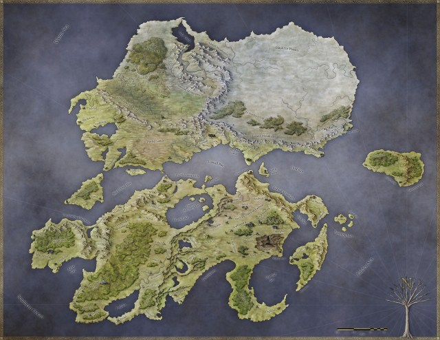 The world map for the Pathfinder setting Rhune: Dawn of Twilight