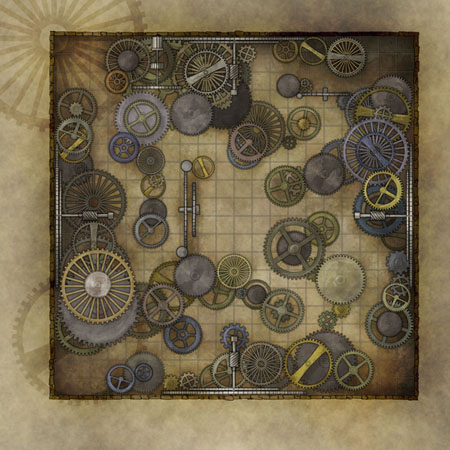 Preview pf the steampunk fantasy map - clockwork maze