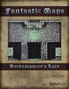 Cover for fantasy map pack of the Necromancer's lair dungeon battlemap