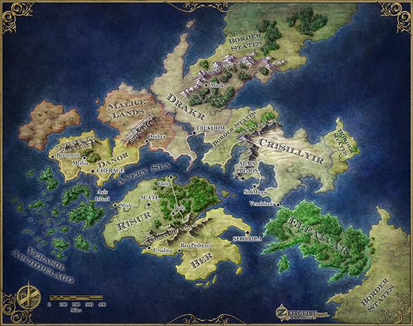 The fantasy world map of Zeitgeist for ENWorld publishing Fantastic Maps