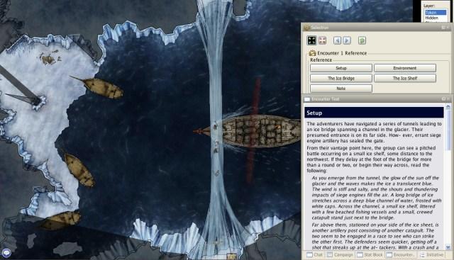 Breaking of Forstor Nagar fantasy pathfinder adventure screenshot showing encounter text in the maptool program