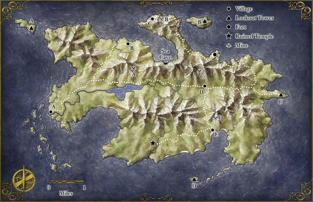 Fantasy island map for the Island at the Axis of the World Pathfinder adventure for Zeitgeist