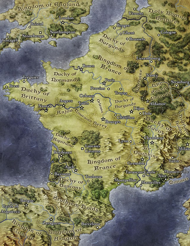France Map for fantasy pathfinder world