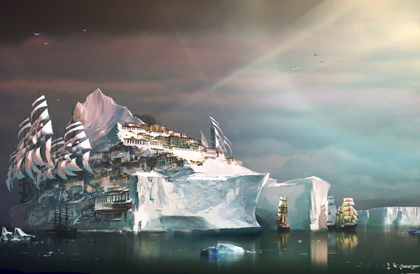 Iceberg city from guild wars as style inspiration for Breaking of Forstor Nagar Maps