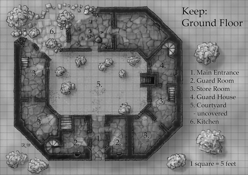 Ground floor map of a ruined castle