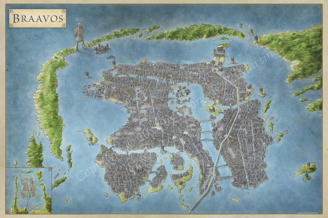 The lands of ice and fire the maps of game of thrones official map of the city of braavos for game of thrones gumiabroncs Gallery