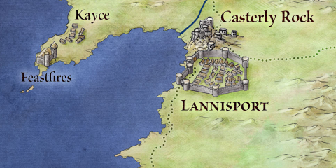 Casterly Rock and Lannisport from the map of Westeros and the seven kingdoms