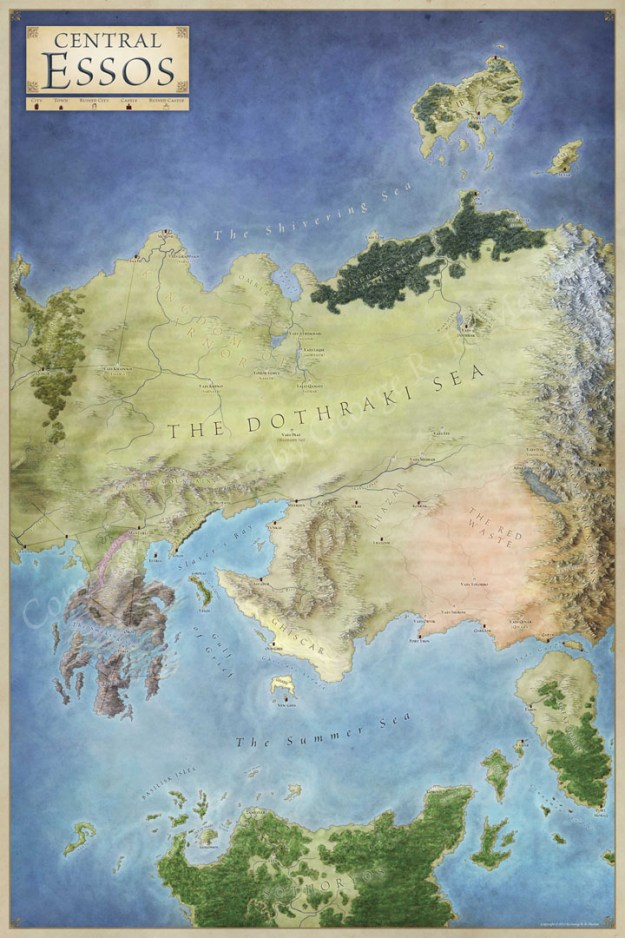 Central Essos map for Game of Thrones