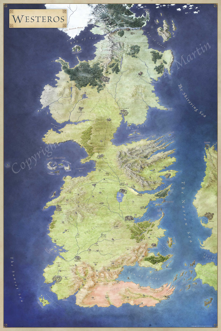 Map Of Westeros The Official Map of Westeros   Fantastic Maps Map Of Westeros
