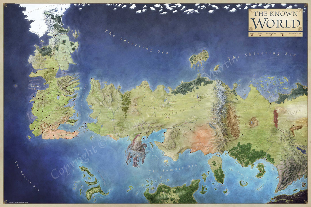 The lands of ice and fire the maps of game of thrones the official world map for game of thrones gumiabroncs Gallery