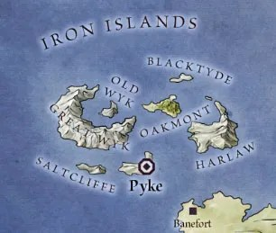 Iron Islands from map of The West for Game of Thrones